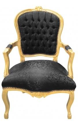 Барокко кресло Louis XV стиль деревянный позолоченный и атласными черными