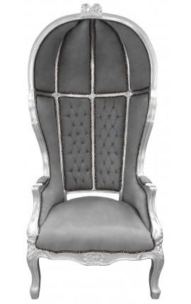 Grand fauteuil carrosse de style Baroque tissu velours gris et bois argent