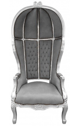 Grand porter's Baroque style chair grey velvet and wood silver