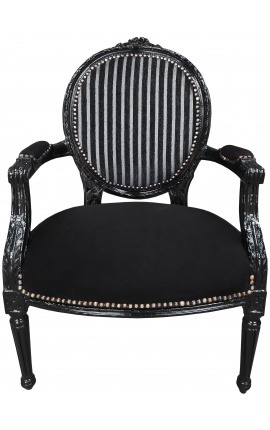Baroque armchair Louis XVI black and white velvet striped and black wood