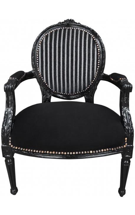 Fauteuil Louis XVI de style baroque rayé noir et blanc en velours et bois noir