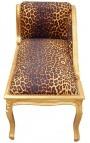 Louis XV chaise longue leopard fabric and gold wood