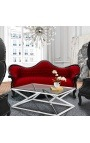 Baroque Sofa Napoléon III style Burgundy velvet and black lacquered wood