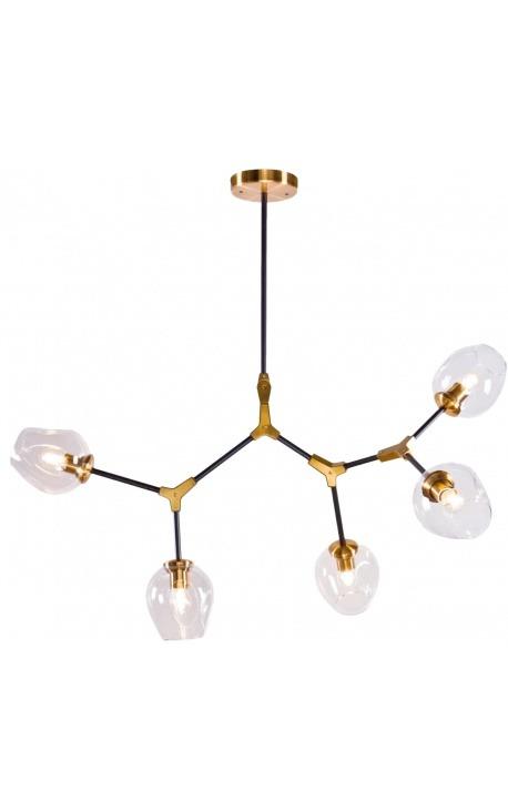 """Lustre """"Esa"""" à 5 branches en métal couleur laiton et verre"""