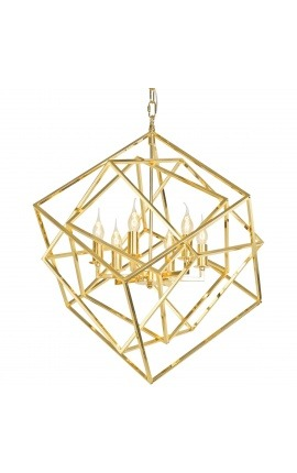 """Cubic"" chandelier in gold-plated metal"
