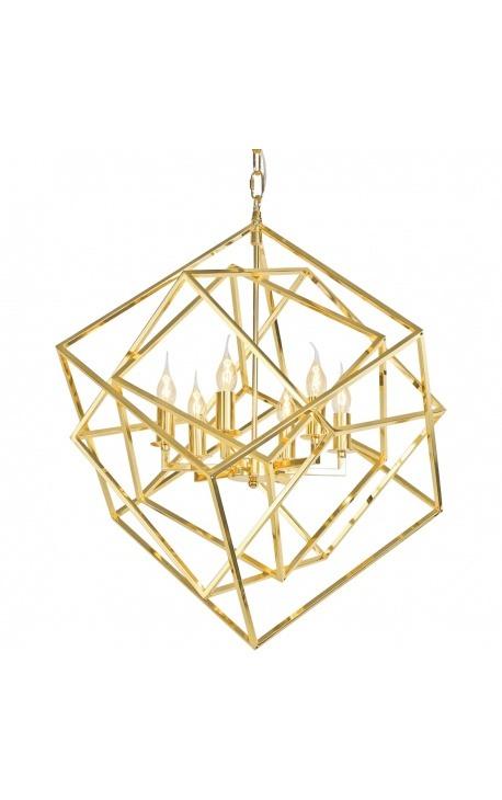 """Lustre """"Cubic"""" en métal doré"""