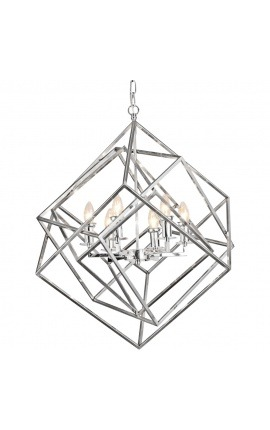 """Cubic"" chandelier in nickel-plated metal"