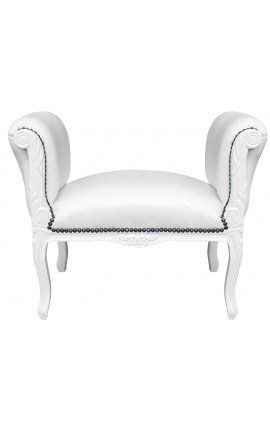 Baroque Louis XV bench false skin leather white and white lacquered wood