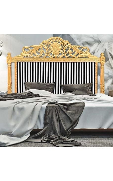 Барокко кровать изголовьем с черно-белой полосатой тканью и позолоченным деревом