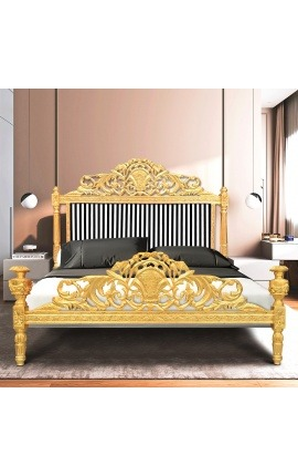 Lit Baroque tissu rayé noir et blanc et bois doré à la feuille