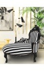 Baroque chaise longue black and white striped fabric with black wood