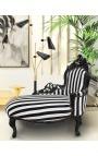 Méridienne baroque tissu rayé noir et blanc et bois noir