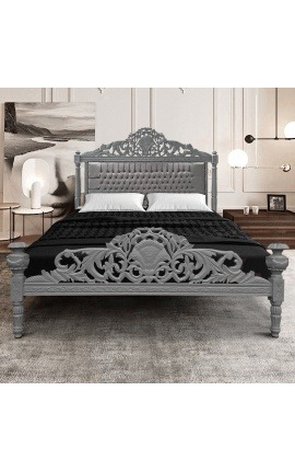 Baroque bed with grey velvet fabric and grey lacquered wood.