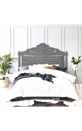 Baroque bed headboard grey velvet and grey lacquered wood