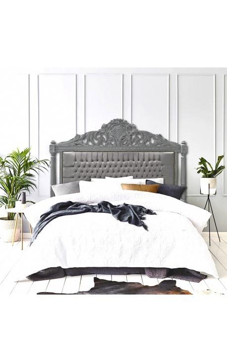 Tête de lit Baroque tissu velours gris et bois laqué gris