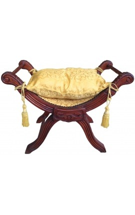 Roman bench (or Dagobert) gold satin fabric and mahogany wood