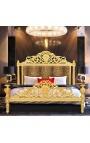 Lit Baroque tissu léopard et bois doré