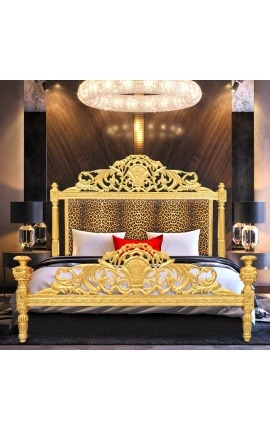 Baroque bed leopard fabric and gold wood