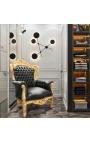 Grand fauteuil de style baroque tissu simili cuir noir et bois doré