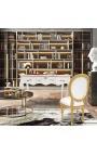 Bureau baroque de style Louis XV blanc, 3 tiroirs