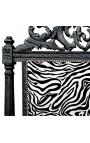 Tête de lit Baroque tissu zébré et bois laqué noir