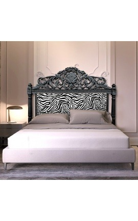 Baroque bed headboard zebra fabric and glossy black wood