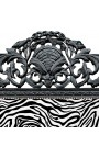 Baroque bed zebra fabric and glossy black wood