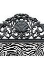 Lit Baroque tissu tissu zébré et bois laqué noir