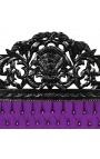 Барокко кровать ткани фиолетового бархата с кристалл и черного лакир