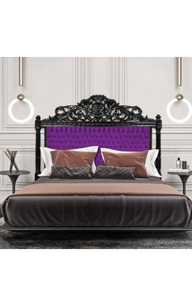 Baroque bed headboard purple fabric with rhinestones and black lacquered wood.