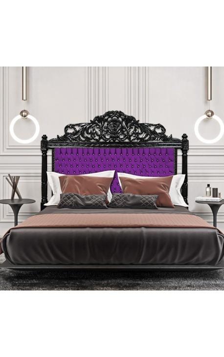 Tête de lit Baroque tissu mauve avec cristaux et bois laqué noir