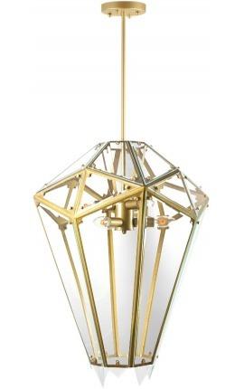 """Lustre """"Artes"""" à forme diamantée en métal couleur laiton et verre"""