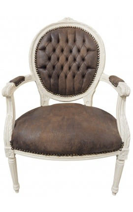 Baroque armchair Louis XVI style chocolate false leather and lacquered wood beige