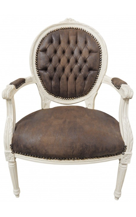 Барокко кресло Louis XVI стиль шоколад ложным кожа и бежевый дерево патиной