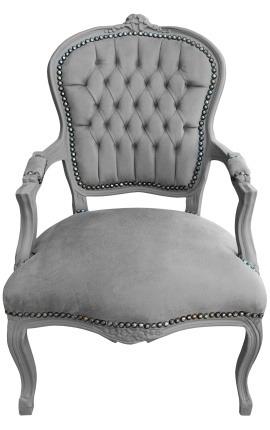 Fauteuil Louis XV de style baroque velours gris et bois gris