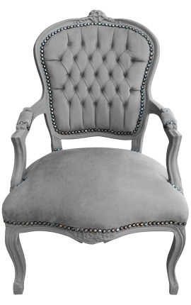 Baroque armchair Louis XV style grey and grey lacquered wood