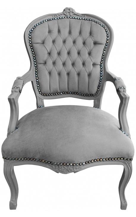 Fauteuil baroque de style Louis XV tissu gris et bois gris