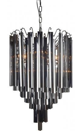 """Lustre """"Livera"""" style Art Deco en métal et pampilles en verre noir"""