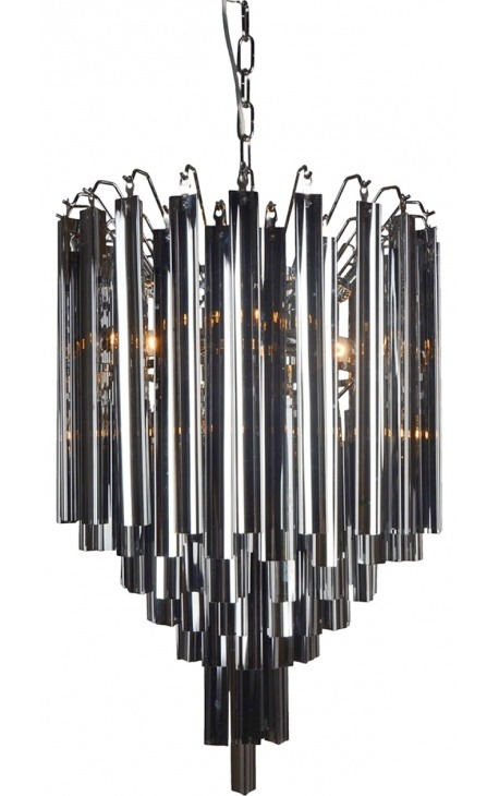 "Chandelier ""Livera"" style Art Deco metal and black glass pendants"