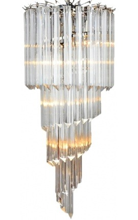 "Large ""Thyas"" chandelier in silver metal with fringed glass pendants"