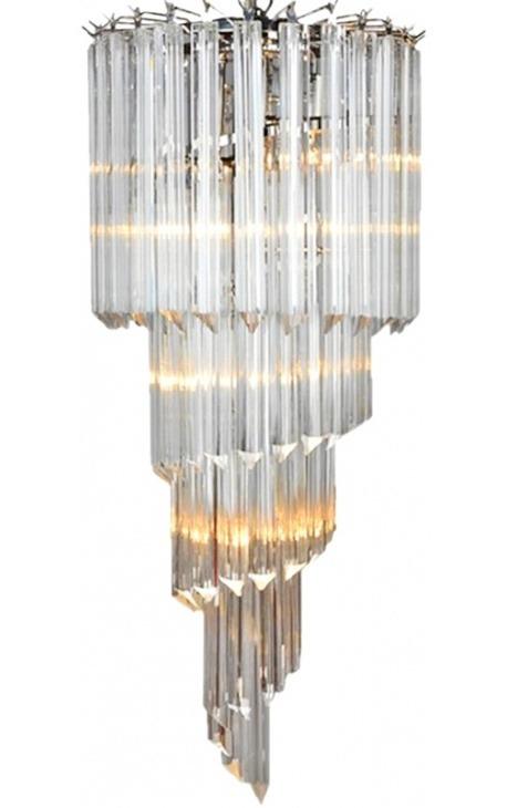 """Grand lustre """"Thyas"""" en métal argenté avec pampilles verre à franges"""