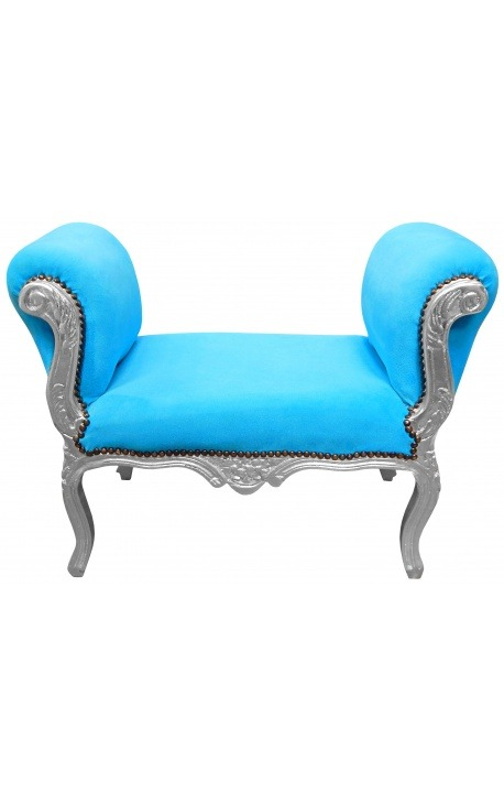Banquette baroque de style Louis XV tissu bleu turquoise et bois argent