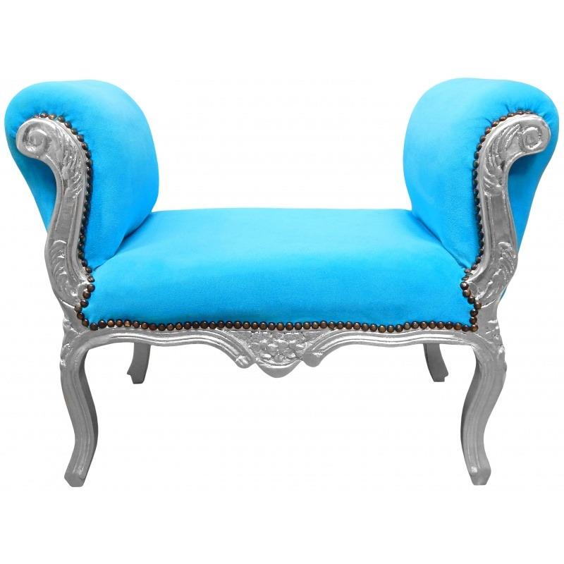 Banquette baroque de style Louis XV tissu bleu turquoise ...