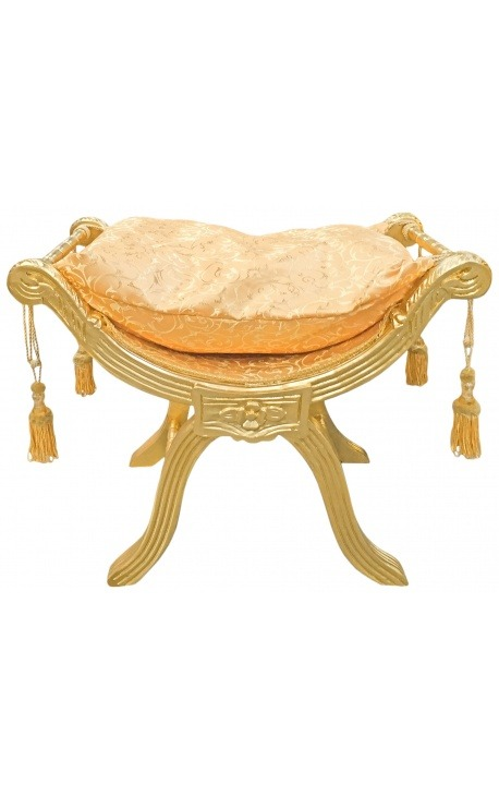 """Banquette """"Dagobert"""" tissu satiné doré et bois doré"""