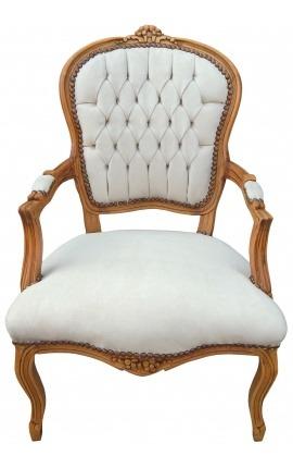 Fauteuil Louis XV de style baroque velours beige et bois naturel