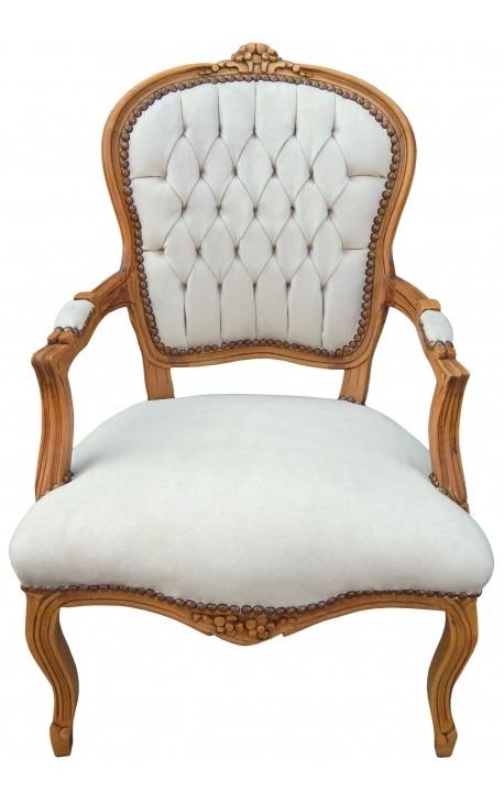 Fauteuil de style Louis XV velours beige et bois naturel