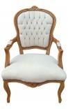 Барокко кресло Louis XV бежевого цвета и естественный цвет дерева