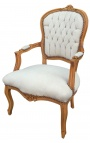 Armchair of Louis XV style beige velvet and natural wood color