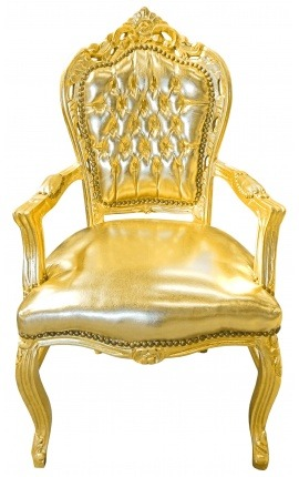 Baroque Rococo Armchair style gold leatherette and gold wood