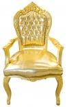 Барокко Рококо Кресло в стиле искусственная кожа золото и золото древесины